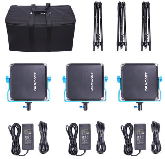 Dracast LED500 S-Series Bi-Color 3-Light Kit with V-Mount Battery Plates and Soft Case