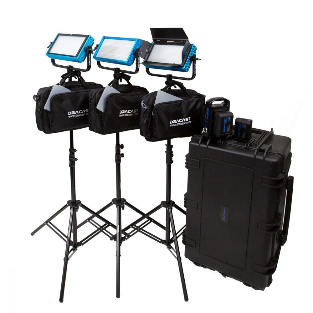 Dracast Plus Series Bi-Color 3-Light Location Kit with V-Mount and Gold Mount Battery Plates