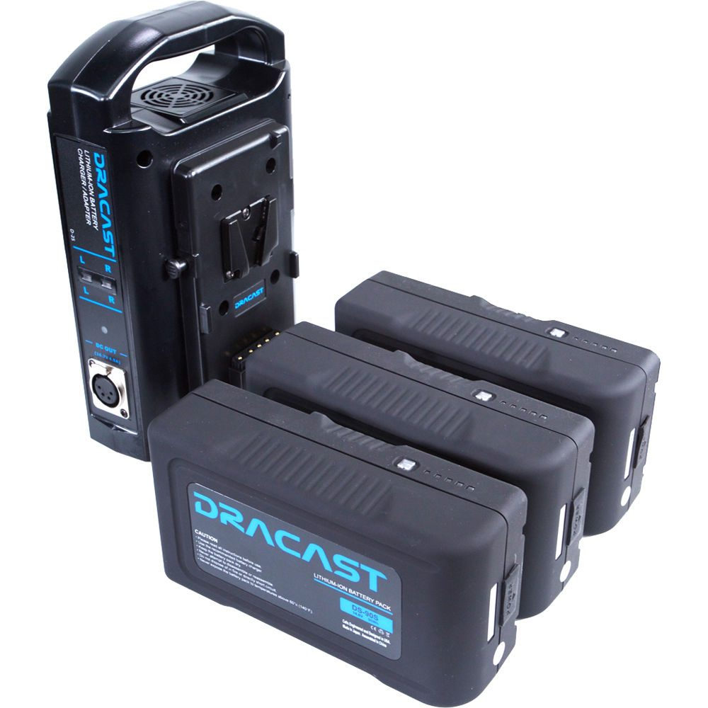 Dracast Plus LED500 Daylight 3-Light Location Kit with V-Mount and Gold Mount Battery Plates