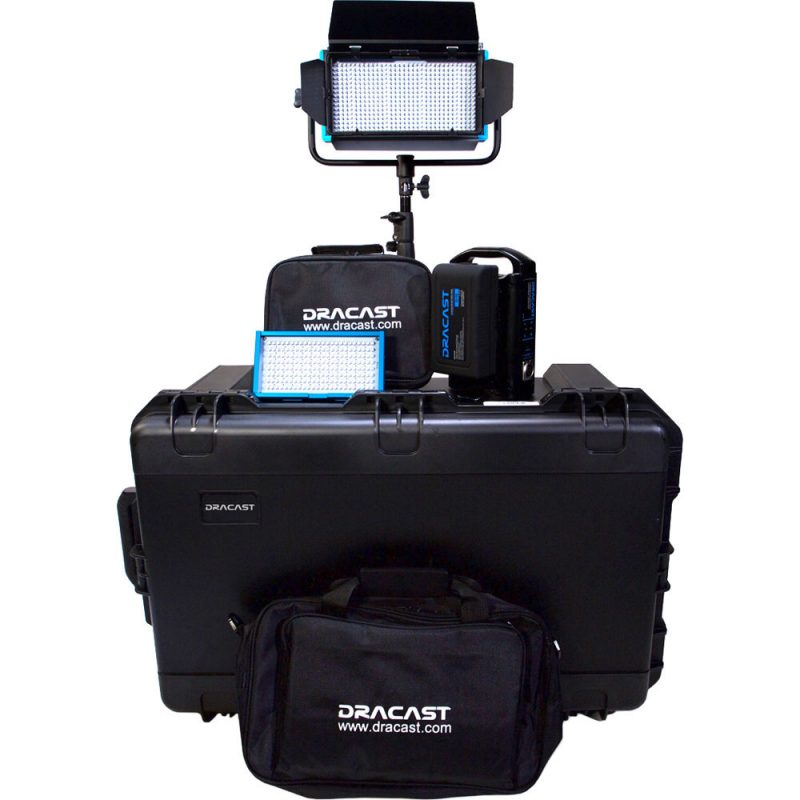 Dracast Plus Series Daylight 2-Light Webcast Kit with V-Mount and Gold Mount Battery Plates