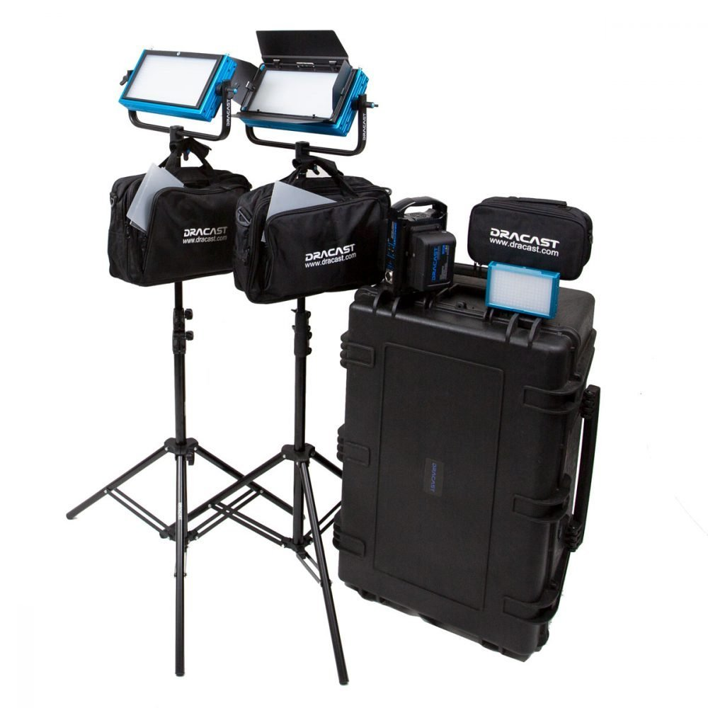 Dracast Pro Series Bi-Color 3-Light Interview Kit with Gold Mount Battery Plates
