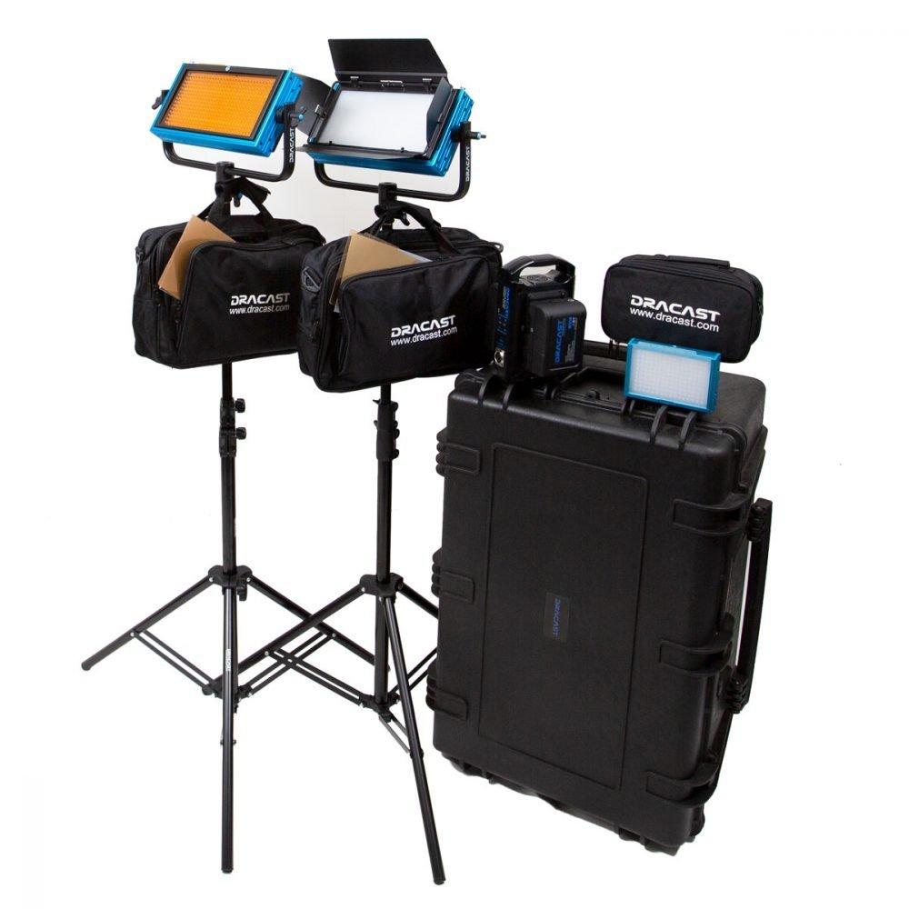 Dracast Pro Series Daylight 3-Light Interview Kit with V-Mount Battery Plates