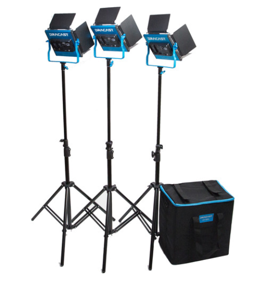 Dracast LED500 S-Series Daylight 3-Light Kit with V-Mount Battery Plates and Soft Case