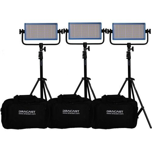 Dracast LED500 Plus Series Bi-Color 3 Light Kit with V-Mount and Gold Mount Battery Plates and Light Stands