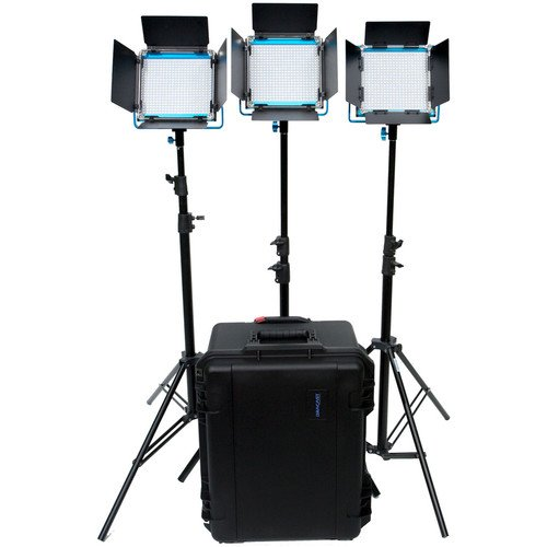 Dracast LED500 Plus Series Daylight 3 Light Kit with V-Mount and Gold Mount Battery Plates and Light Stands