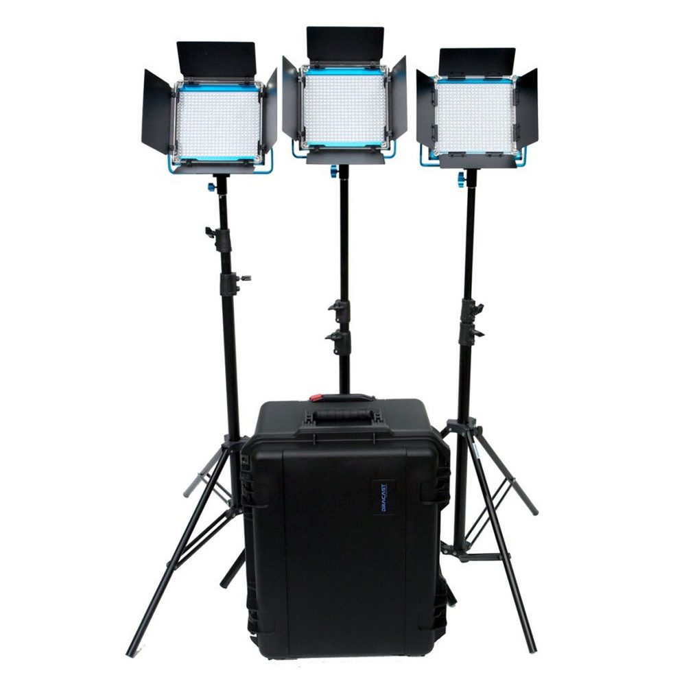 Dracast S-Series Plus LED500 Bi-Color LED 3-Light Kit with V-Mount Battery Plates and Injection Molded Travel Case