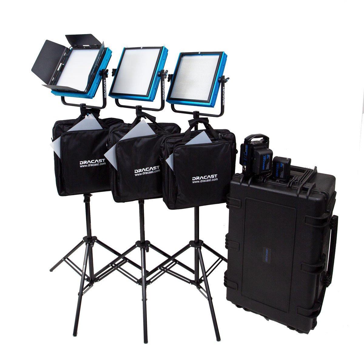 Dracast Plus LED1000 Bi-Color 3-Light Studio Kit with V-Mount and Gold Mount Battery Plates