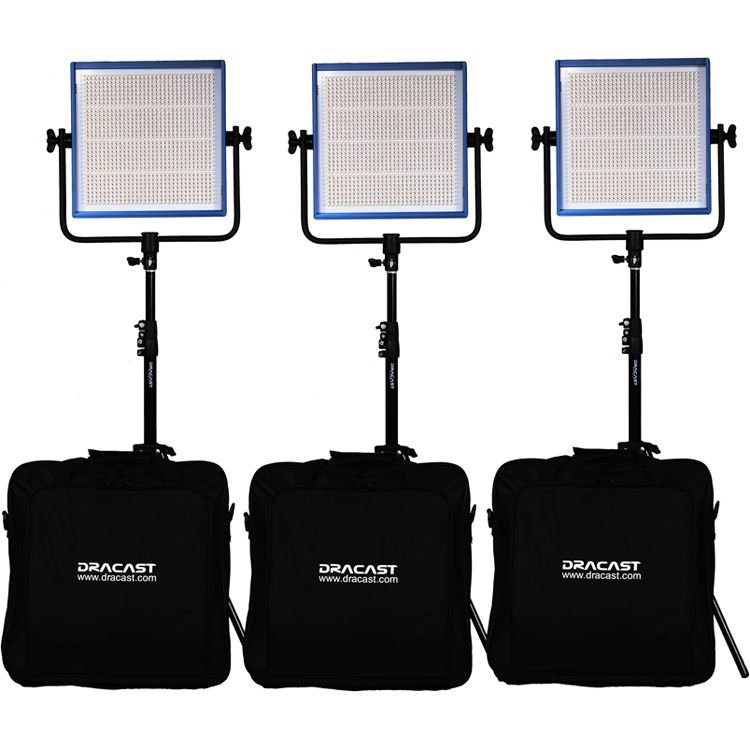 Dracast LED1000 Pro Series Daylight 3-Light Studio Kit with Gold Mount Battery Plates