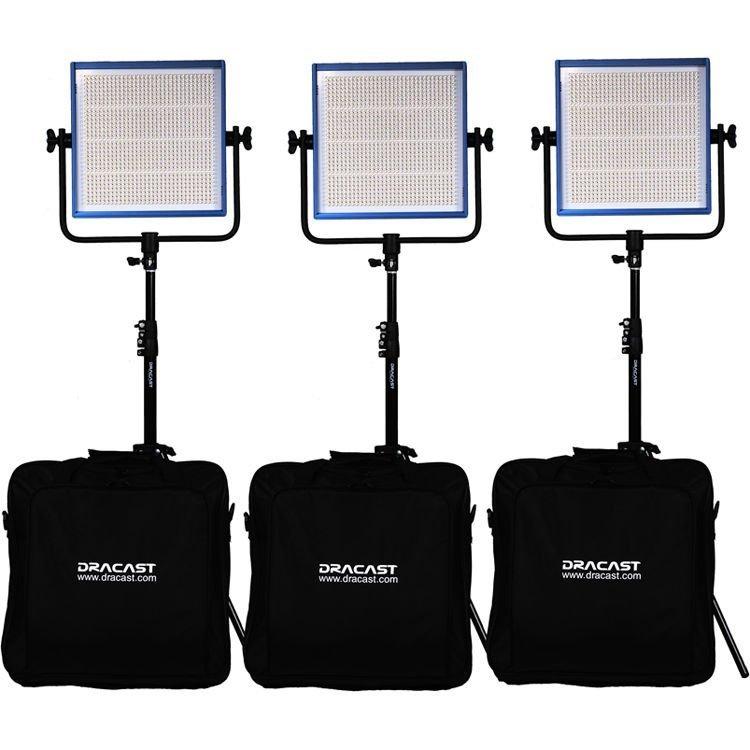 Dracast LED1000 Pro Series Daylight 3-Light Studio Kit with V-Mount Battery Plates