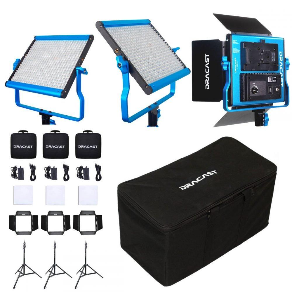 Dracast LED500 S-Series Daylight 3 Light Kit with V-Mount Battery Plates and Soft Case