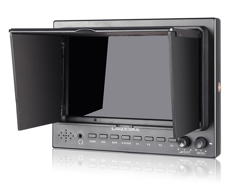 """Laizeske 7"""" 1024 x 600 3G-SDI HDMI Camera-Top Field IPS Monitor with Peaking Focus"""