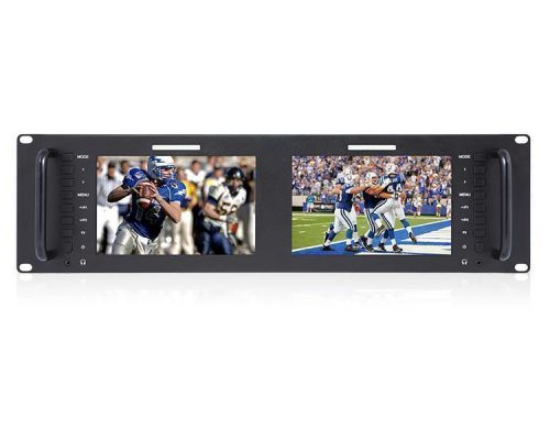 "Laizeske Dual 7"" IPS 1280 x 800 LCD Rackmount Monitor with 3G-SDI & HDMI (3 RU)"