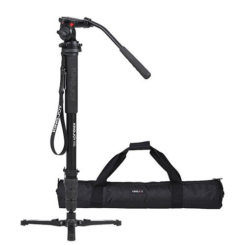 Kingjoy Four-Section, Telescoping Monopod with Twist-Lock, Fluid Drag Head and Folding Tri-Support Base