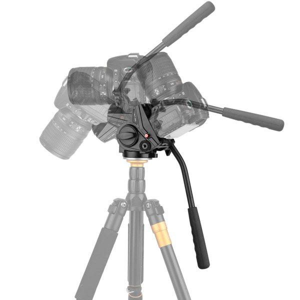 KINGJOY VT3510 Heavy Duty Video Camera Tripod Fluid Drag Pan Head with Sliding Plate 1/4″ and 3/8″ Screws