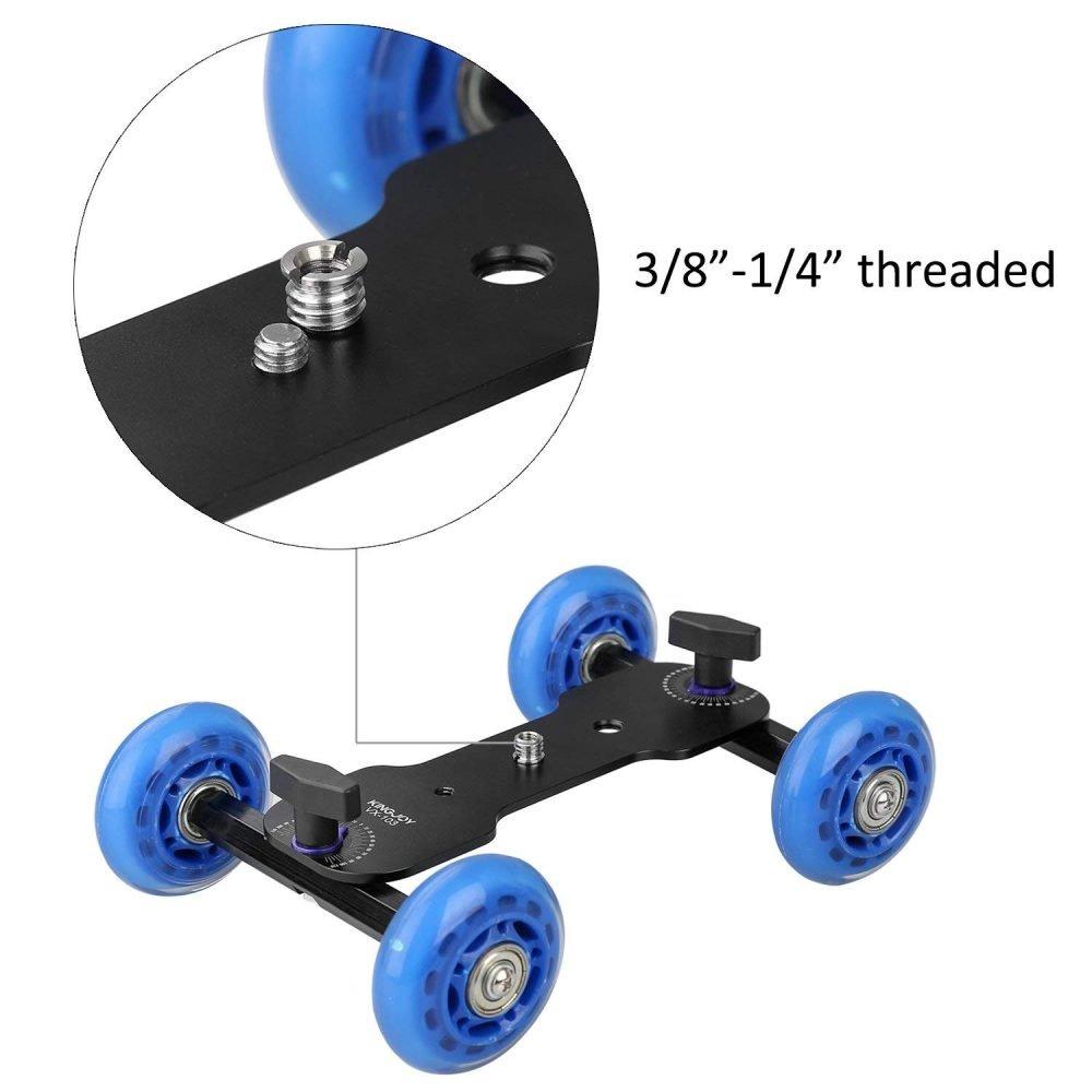 Tabletop Mobile Rolling Slider Dolly Car,KINGJOY VX-103 Skater Video Track Rail for Speedlite DSLR Camera Camcorder Rig