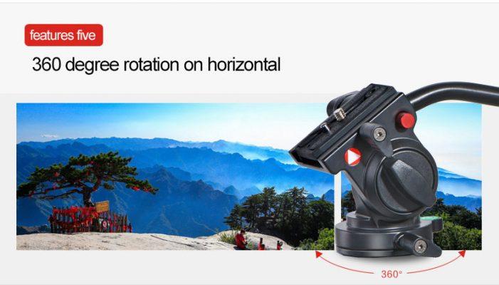 KINGJOY KH-6750 Flexible Aluminum Camera Tripod Head Fluid Video Tripod Head