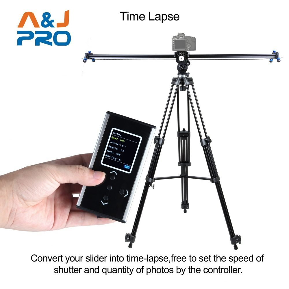 """A&J PRO Motorized Camera Slider with Time Lapse and Wide Angle Shot (48"""")"""
