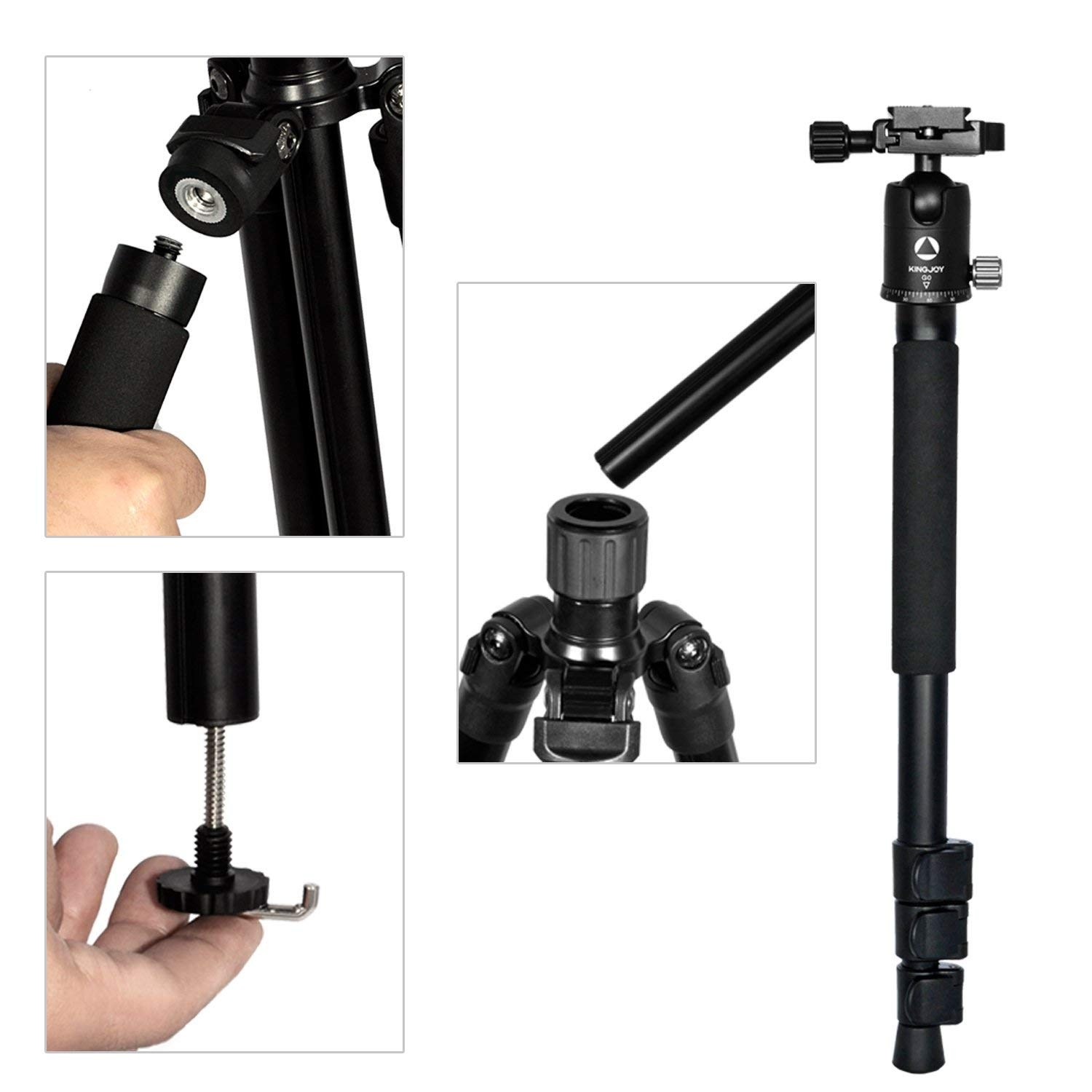 Color : Black LLluckyHW Travel Tripod Action Camera Selfie Stick Professional Video Tripod Bag for DSLR Camera Twist Lock Rotatable Center Column Travel and Work