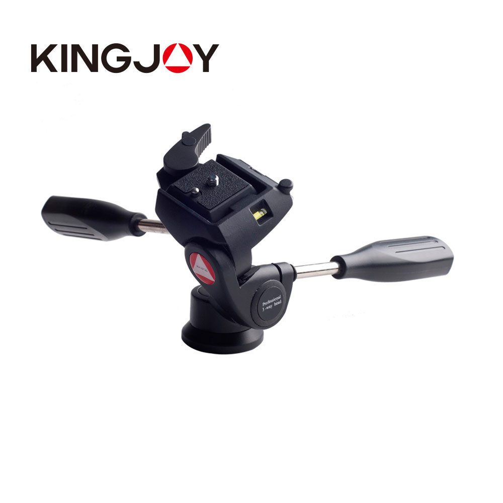 "Kingjoy KH-6720 3-Way Video Tripod Head with 1/4"" Quick Release Plate"