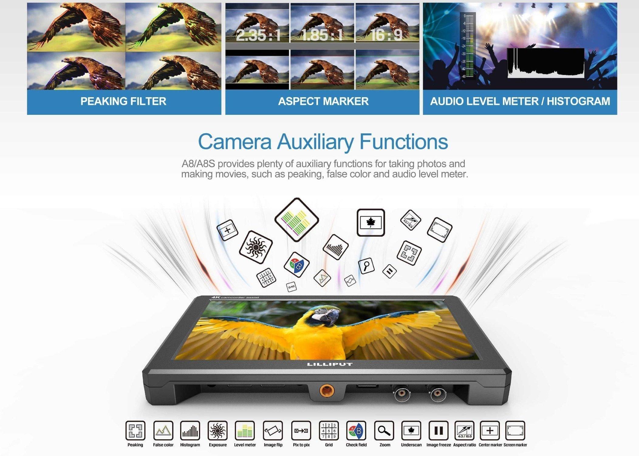 "Lilliput A8 4K 8.9"" On-Camera HDMI Monitor"