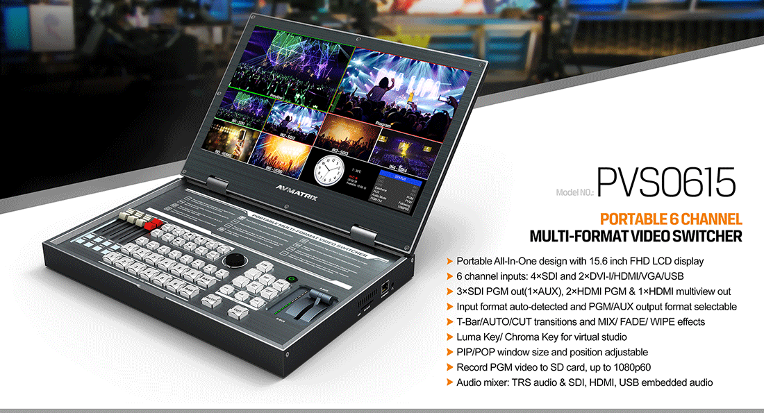 """AVMatrix PVS0615 Portable 6-Channel Video Switcher with 15.6"""" LCD Monitor"""