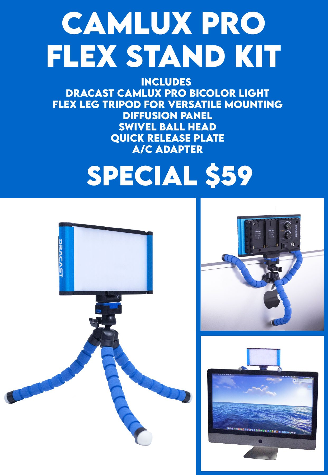 Dracast Camlux Pro Flex Stand Kit Banner Mobile