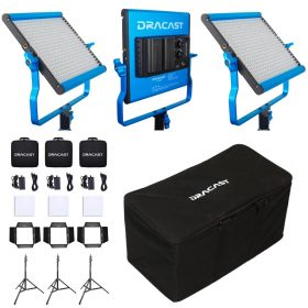 Dracast DRLK3X500BNS S-Series LED500 Bi-Color 3 Light Kit with NP-F Mount Battery Plates and Nylon Padded Travel Case