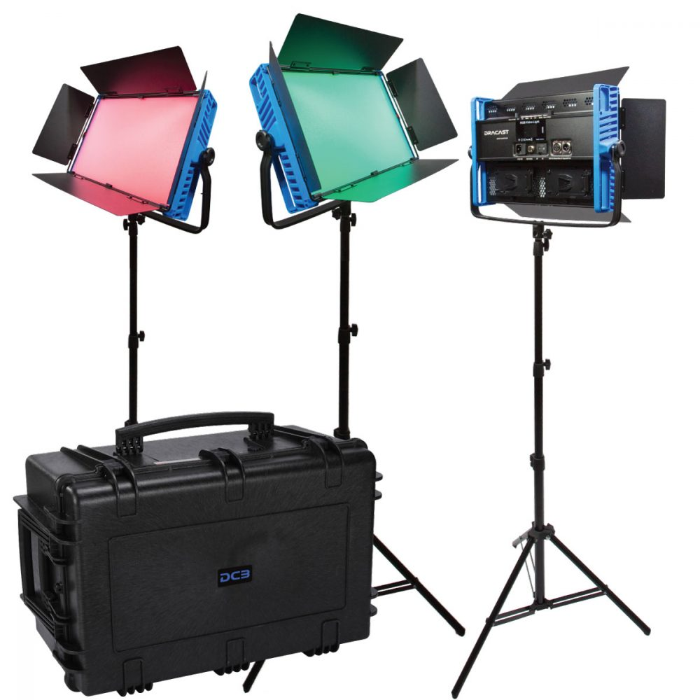 Picture of Dracast Kala Plus Series LED3000 RGBWW 3 light kit with injection molded travel case